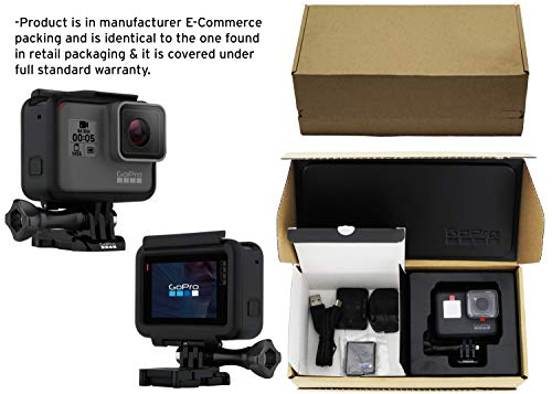 Gopro hero5 black (e-commerce packaging) 2 this product is in manufacturer e-commerce packing (see pictures). The product itself is identical to the one found in retail packaging & it is covered under full standard warranty stunning 4k video and 12mp photos in single, burst and time lapse modes durable by design, hero5 black is waterproof to 33ft (10m) without a housing