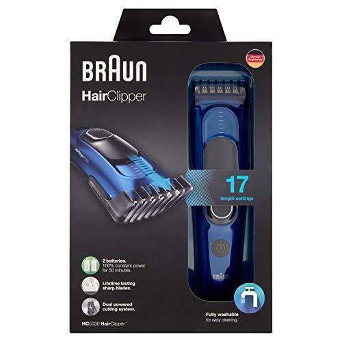 Braun HC 5030 - Máquina de cortar pelo profesional, cortapelos con 17 longitudes, color azul, ac / batería