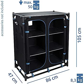 your GEAR Armoire de camping Ticino - 6 compartiments - Pliable - 86 x 47 x 105 cm