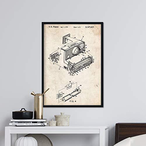 Nacnic Poster con patente de Camara Polaroid. Lámina con diseño de patente antigua en tamaño A3 y con fondo vintage
