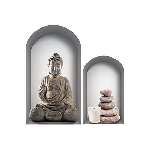 Zen et Ethnique Autocollant Mural Niche Bouddha