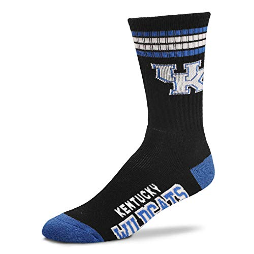For Bare Feet - NCAA 4 Stripe Deuce Crew Socks Men's Large 10-13 (Kentucky Wildcats)