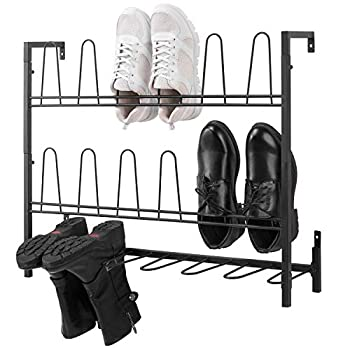 MyGift 9-Pair Wall Mounted Black Metal Wire Boot & Shoe Rack