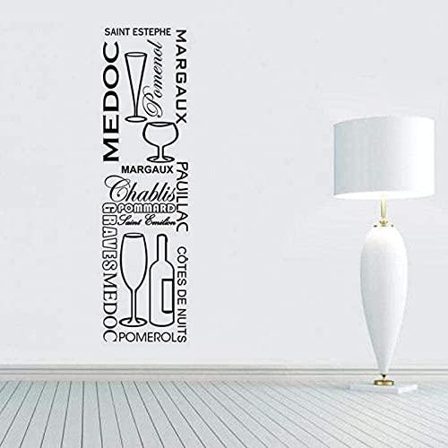 Pegatinas Conjunto de cocina francesa Vins Calcomanías de vinilo para pared Mural Arte de pared para cocina Bar Azulejo Decoración para el hogar Decoración de la casa 30X106cm