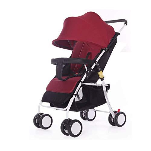 YL Kinderwagen Adjustable, Hoch Landschaft Kinderwagen, Reisesystem, kompakte und leichte Sportkinderwagen, Recline-Baby-Buggy for Flugzeug-Ultra-Leicht-Baby-Trolley mit (Color : Red)