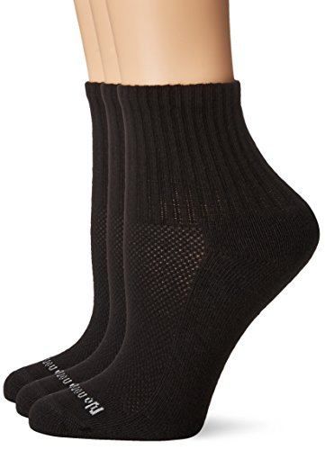 No Nonsense Women's Soft and Breathable Cushioned Mini Crew Socks 3 Pair Pack, Assorted, Black, One Size, 4-10