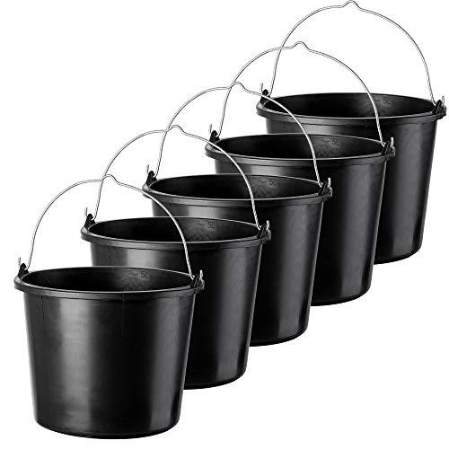 KADAX Baueimer aus Kunststoff, 5l, Mörteleimer für Garten und Baustelle, Eimer mit Griff aus Metall, Wassereimer, Zementeimer mit Gießrand, Putzeimer, stabil, schwarz (5)