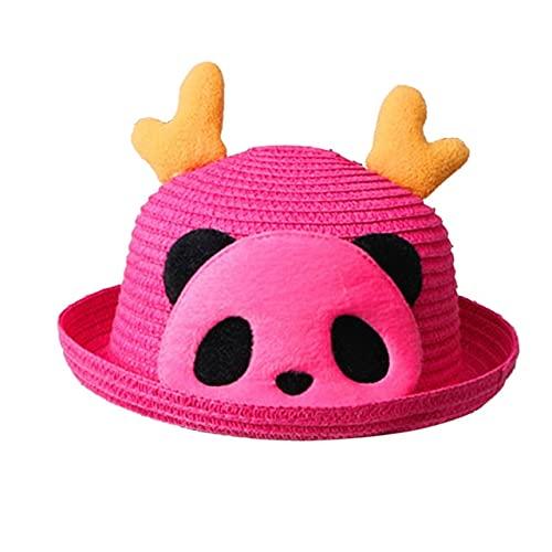 Verano bebé Sombrero para el Sol niños Animales Dibujos Animados Sombreros de Paja Playa Sombrero para el Sol Gorra de Viaje al Aire Libre Casquette Enfant Sombrero de Pescador-Hot Pink
