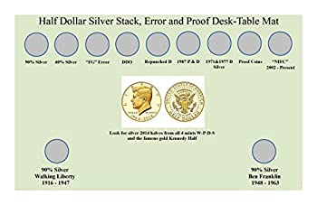 Coin Mat & Chart Find Valuable Kennedy Halves Coin Roll Hunting  Error Rarity Cheat Sheet + Stacking Mat Collecting Guide + Picture Error Book Showing Coin Details So You Never Miss an Error Again