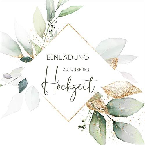 Hochzeitseinladungen Einladungskarten Klappkarten Hochzeit Quadratisch 14,8x14,8 cm mit Umschlägen 25 Stk./50 Stk. Boho grün-gold (50 Stk.)