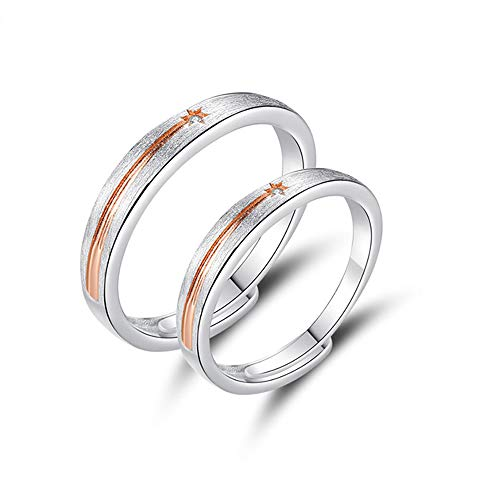 MIKAMU 星 愛の証 ペアリング ジュエリーレディースリング メンズリング フリーサイズ ハート CZダイヤモンド シルバー925 純銀製 星形 婚約指輪 結婚指輪 恋人 プレゼント (レディース)
