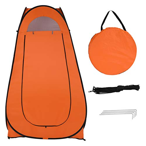 Astry Portable Pop Up Toilet Shower Tent Changing Room Dressing Tent Camping Shelter for Camping & Beach – Lightweight & Sturdy, Easy Set Up, Foldable - with Carry Bag Orange(1-2 Person)