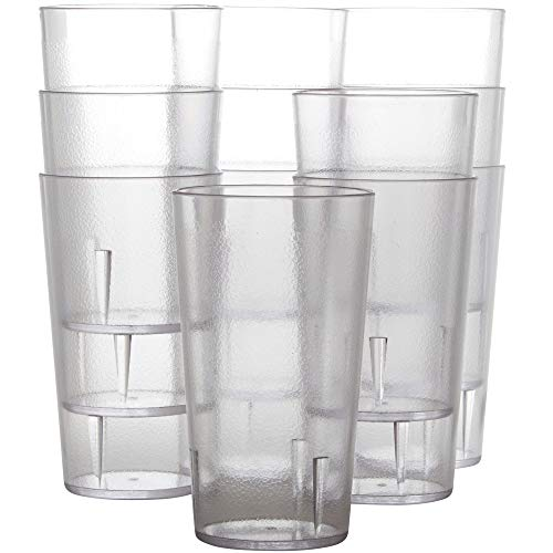 Restaurant Grade, BPA Free 12oz Clear Plastic Cup 12 pk. Break Resistant Drinking Glasses Are Reusable, Stackable Shatterproof Tumblers. Best Drink Cups for Cafe and Catering Supplies