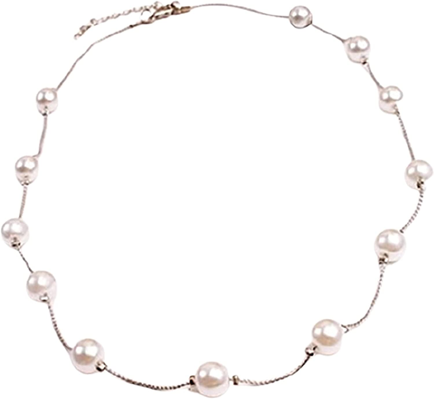 Dainty Necklace for Women,Necklace Single Layer Adjustable Alloy Women Faux Pearl Clavicle Chain for Wedding
