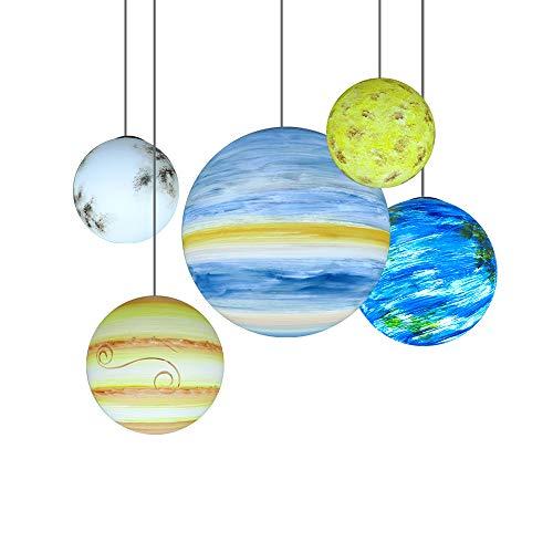 Modern 3D-Druck Mondlampe LED Mond Pendelleuchte Kugel Moon Hängeleuchte Neun Planeten Hängelampe Harz Handgefertigt Dekorativ Planetenlicht Planet Mondlicht Höhenverstellbar 1-Flammig (B-Mond, Ø20CM)