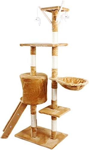 JL Comfurni Cat Tree Sisal Scratching Post Kitten Scratcher Nest Tower High(Pink)