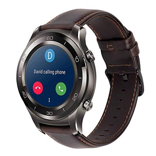 Gear s3 Armband Leder Vintage Lederarmband Galaxy Watch 46mm Uhrenarmband 22mm Echtes Lederband kompatibel für Samsung Gear S3 Frontier Classic, Huawei Watch 2 Classic / Huawei GT Bracelet- Kaffee