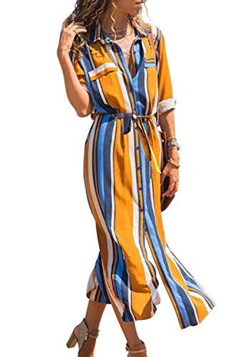 Happy Sailed Damen Langarm Gestreift Elegant Lang Blusenkleid Hemdkleid Shirt Kleid Oberteil Kleid Maxikleid mit Gürtel , orange/blue (229-22), Medium (EU40-EU42)