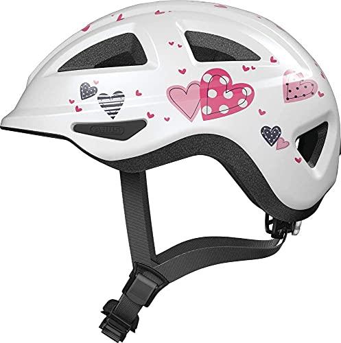 ABUS Kinderhelm Anuky 2.0 ACE - Fahrradhelm für Kleinkinder und Kinder - mit Licht und Kinnschutz - für Mädchen und Jungen - Weiß mit Herzen, Größe M