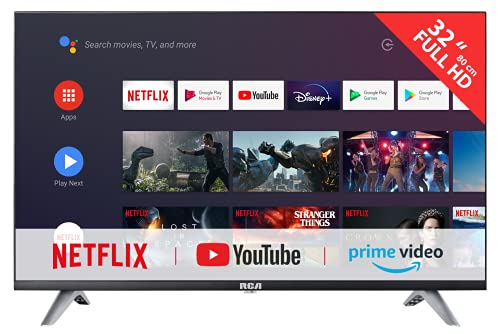 RCA RS32F3 Smart TV (32 inch HD Android TV with Google Assistant, Google Play Store, Prime Video, Netflix) HDMI, USB, WiFi, BlueTooth, Triple Tuner (DVB-C / -T2 / -S2)