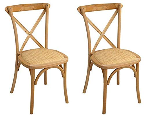Mobiliario Factory Silla Comedor Crossback Madera de Haya con Asiento de ratán Natural. Silla Vintage thonet apilable. Pack de 2