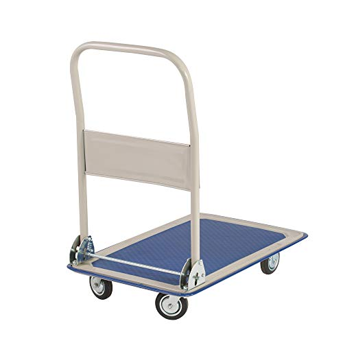 Koreyosh 330LB Folding Platform cart Rolling Flatbed cart Moving Push Hand Truck for Warehouse basements, Blue