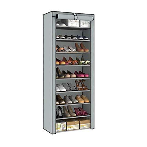 Zapatero de rejilla de 10 niveles 9 desmontable a prueba de polvo no tejido armario de zapatos para el hogar de pie ahorro de espacio, organizador de zapatos - gris plateado, Francia