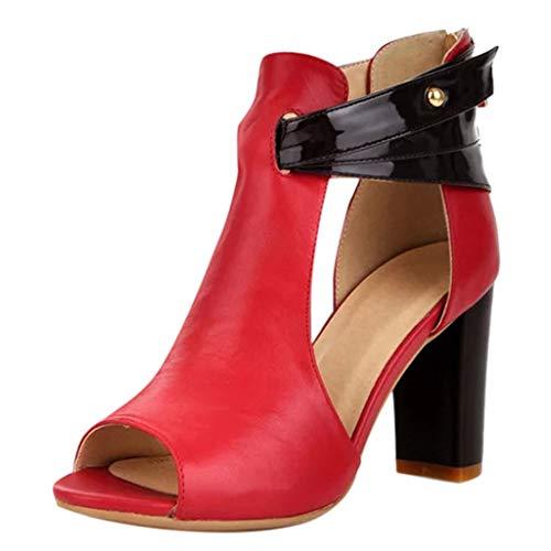 Vovotrade Damessandalen met hoge hakken, ritssluiting, sandalen, leer, korte laarzen, enkele schoenen