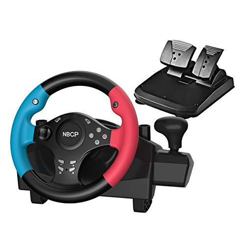 Gaming racing wheel 270 degree driving force vibration for racing games PC / Nintendo Switch /PS3 / Android with pedals accelerator brake ( Blue +red color )