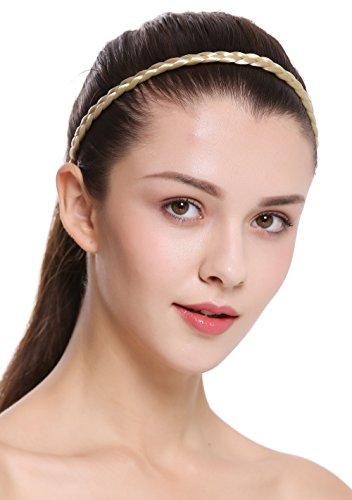 WIG ME UP - CXT-009-320 Haarband Haarreif geflochten Tracht traditionell 1cm schmal hellblond braid