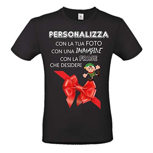 B&C T-Shirt Uomo Maglia Nera Personalizzabile con un'immagine o Una Foto, Stampa direttta su Tessuto (XL)