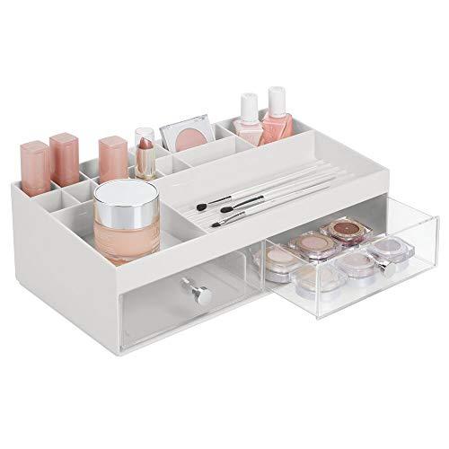 mDesign Kosmetik Organizer – praktische Kosmetik Aufbewahrungsbox mit zwei Schubladen und 15...