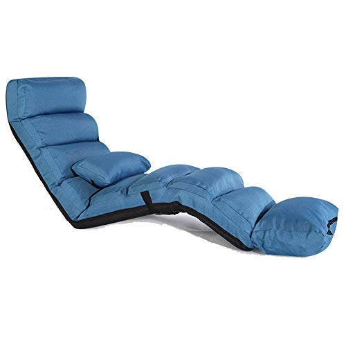 LIX-XYD Liege Lengthen Lounge Schlafsofa Klapp Verstellbare Boden Lounger Sleeper Futon-Matratze Sitzstuhl W/Kissen, 5 Stufen einstellbar (Farbe: rot) (Color : Blue)