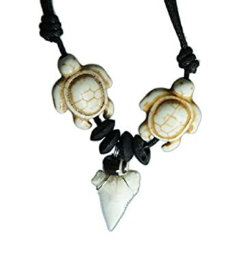 exoticdream Sea Turtle Shark Tooth Necklace Handmade Hawaiian Style Beach Boy Men