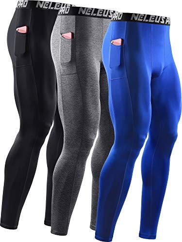 Neleus Men's 3 Pack Dry Fit Compression Pants Running Tights with Pocket,6069,Black/Grey/Blue,US 2XL,EU 3XL
