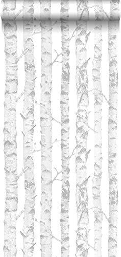 behang berken boomstammen zilver en wit - 138944 - van ESTAhome