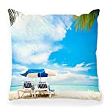 LXJ-CQ Funda de Almohada 18x18 Caribbean Vacation Tourism Concept Palmera Playa Verano Mar Cancún Vacaciones Viajes Paradise Sand Hotel Funda de Almohada