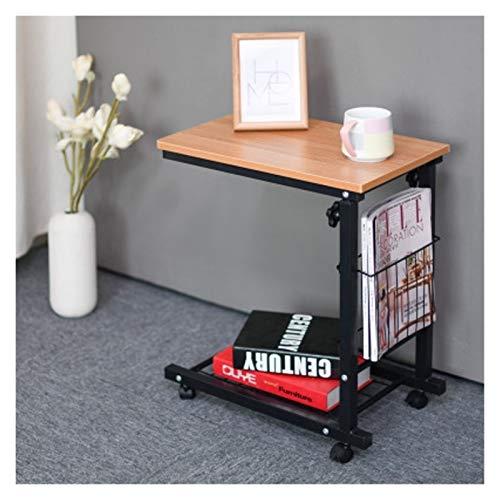 GYHUJI Lazy - Mesita de noche, mesa auxiliar, mesa móvil, estación de trabajo, multipropósito, mesas laterales, muebles, mesa de café, mesas de café modernas ajustables (color: teca)