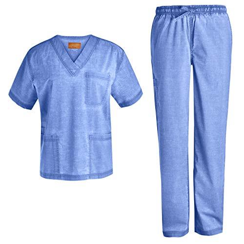 Men V-Neck Stretch Scrub Set - Scrubs Uniforms Men Top and Pants Jeanish Scrubs Washed Superior Softness JS8302 (CBL,M) Ceilblue