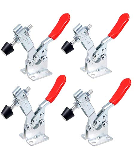 Linseray 4Pcs Hand Tool Toggle Clamp Antislip Red Horizontal Clamp 201-B 200Lbs Quick Release Tool For Machine Operation, Woodworking, Welding, Molding