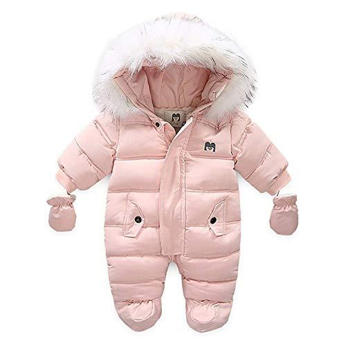 MoccyBabeLee Tuta da Neve Neonato con Cappuccio Pagliaccetto Invernale Caldo Footies Tuta Piumino Soprabito (Pink,18-24 Mesi)