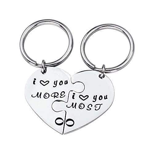 MTWERS Tallado Titanium Acero Llaveros Cobinación Creativa En Forma de corazón Puzzle Anillos de San Valentín Regalo para los Amantes de la Pareja, te Quiero más + Amo más
