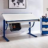 WOHNLING Moritz Kinderschreibtisch, MDF, Blau/Weiß, 130x62x60 cm