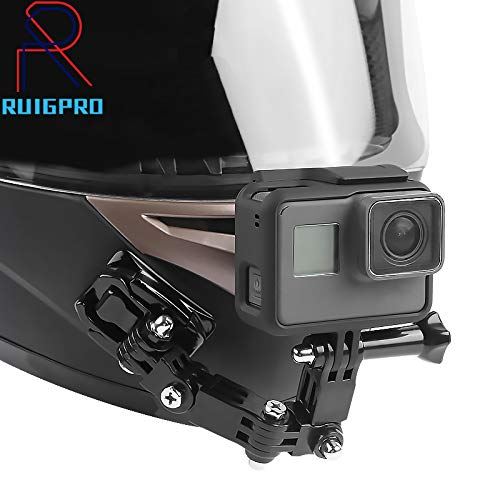 RUIGPRO Motorcycle Helmet Chin Mount Compatible with GoPro Hero 7/(2018)/6/5 Black,4 Session,3+,/Campark/YI Action Camera,Helmet Front and Side Swivel Mount and Adhesive Mounts with Sticky Pads
