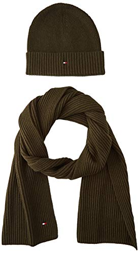 Tommy Hilfiger Herren Pima Cotton Beanie & Scarf Gp Winter-Zubehör-Set, Charcoal Gray, OS