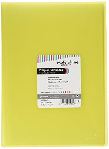 Grafoplás 01461760-Carpeta de fundas Multiline, 50 fundas, tamaño folio, color amarillo