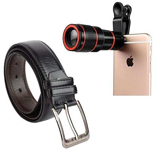 Drumstone 8X Zoom Telescope Lens & Mobile Camera Lens with Phone Clip Holder and Mens Artificial Leather Durable Belt