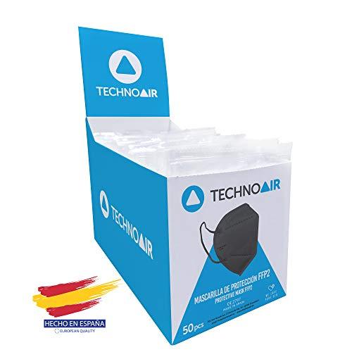 Caja 50 Mascarillas FFP2 Negras de 5 capas, Homologada tipo III, fabricadas en España CE 2797 - Technoair