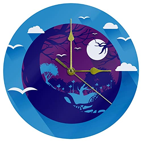 Yoliveya Reloj de pared redondo silencioso de paisaje de pantano decorativo sin garrapatas reloj silencioso para regalo en casa, oficina, cocina, guardería, sala de estar, dormitorio de 25 cm