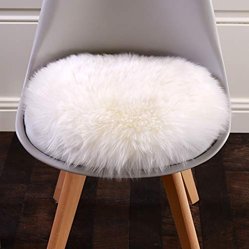 Easyhousehome Luxury room Soft Faux Sheepskin Chair Cover Seat Cushion Pad Plush Bedroom carpet Mat (Round 24in24in, White)
